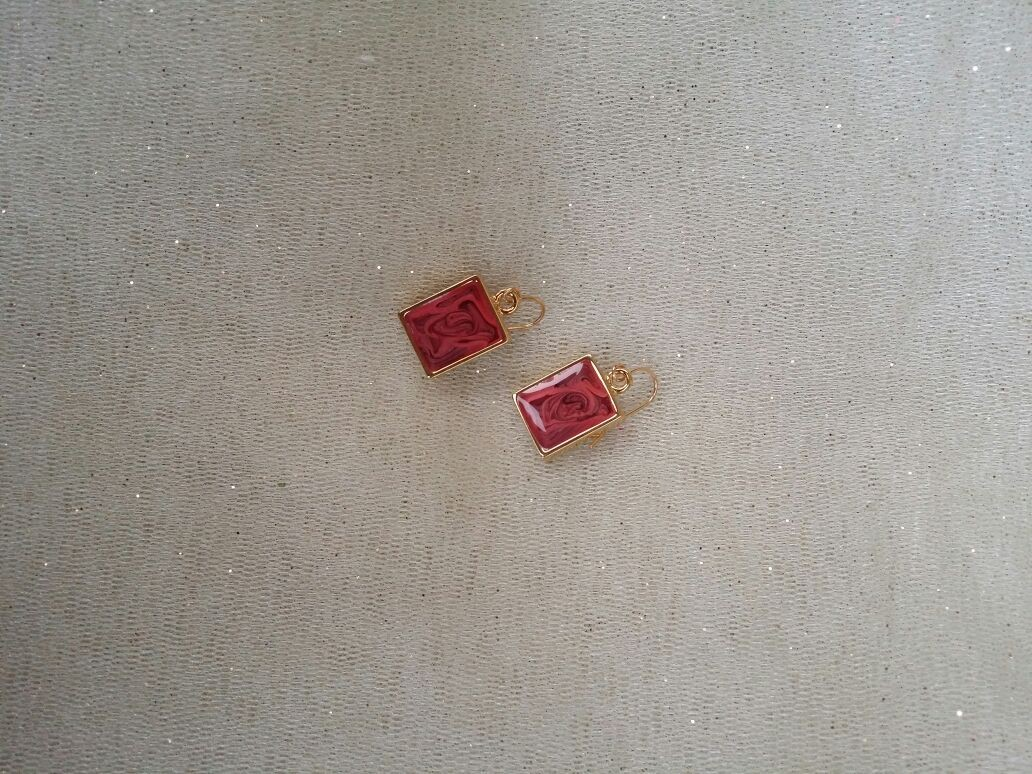 Red Square Shaped Earrings